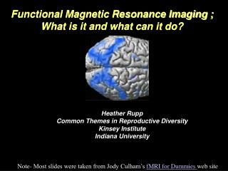 Functional Magnetic Resonance Imaging ; What is it and what can it do?