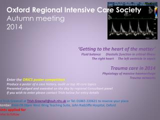 Oxford Regional Intensive Care Society  Autumn meeting  2014