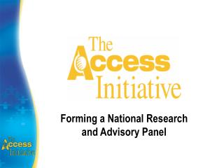 Forming a National Research and Advisory Panel