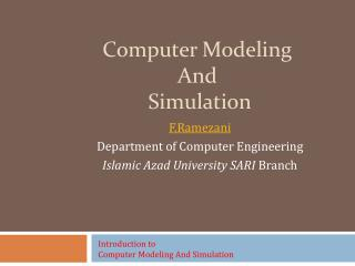 Computer Modeling  And  Simulation