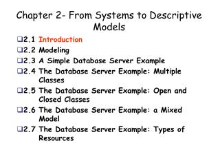 Chapter 2- From Systems to Descriptive Models