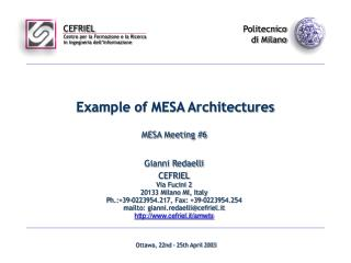 Example of MESA Architectures