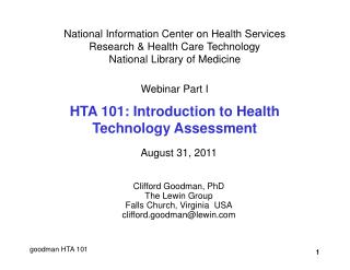 National Information Center on Health Services Research  Health Care Technology National Library of Medicine  Webinar Pa