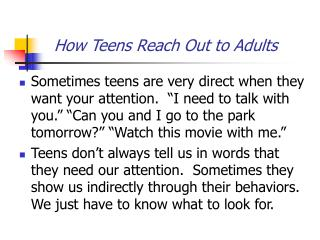 How Teens Reach Out to Adults