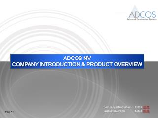 ADCOS NV COMPANY INTRODUCTION & PRODUCT OVERVIEW
