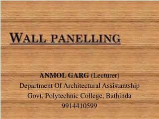 ANMOL GARG  (Lecturer) Department Of Architectural Assistantship