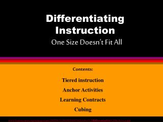 Differentiating Instruction One Size Doesn't Fit All