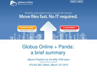 Globus Online + Panda: a brief summary