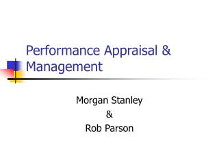 Performance Appraisal & Management