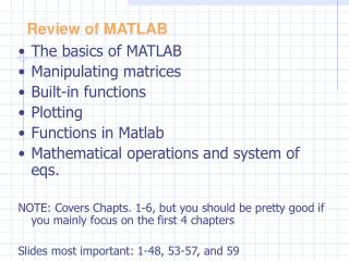 Review of  MATLAB
