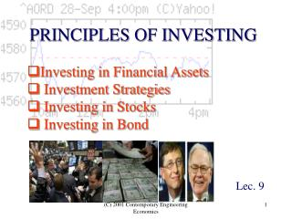 Investing in Financial Assets  Investment Strategies  Investing in Stocks  Investing in Bond