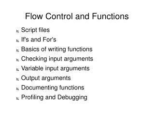 Flow Control and Functions