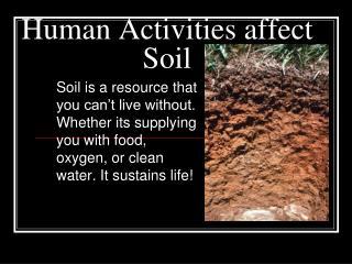 Human Activities affect Soil