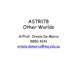 ASTR178 Other Worlds