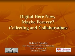 Digital Here Now,  Maybe Forever? Collecting and Collaborations