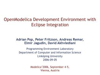 OpenModelica Development Environment with Eclipse Integration