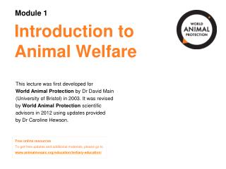 Introduction to Animal Welfare