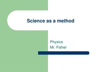 Science as a method