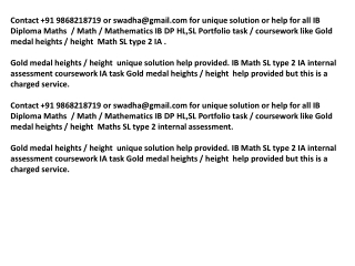 GOLD MEDAL HEIGHTS IB Math SL portfolio SL IA HELP
