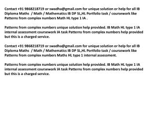 PATTERNS FROM COMPLEX NUMBERS IB Math HL portfolio MATHS ia