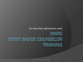 Ward Merit badge counselor Training
