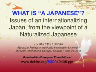 Download this Powerpoint Presentation at debito/ MIC 042408