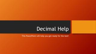 Decimal Help