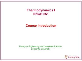 Thermodynamics I ENGR 251