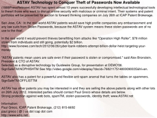 ASTAV Technology to Conquer Theft of Passwords Now Available