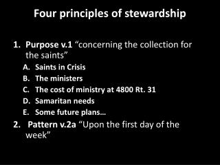 Four principles of stewardship