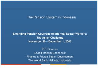 The Pension System in Indonesia