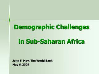 Demographic Challenges in Sub-Saharan Africa