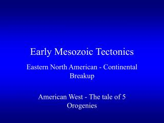 Early Mesozoic Tectonics
