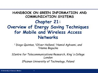 Chapter 21:  Overview of Energy Saving Techniques for Mobile and Wireless Access Networks