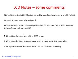 LCD Notes – some comments