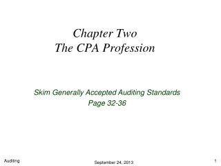 Chapter Two The CPA Profession