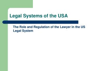 Legal Systems of the USA