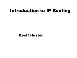 Introduction to IP Routing
