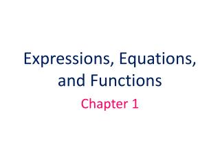 Expressions, Equations, and Functions