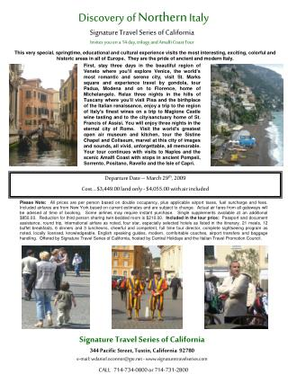 Signature Travel Series of California Invites you on a 14 day, trilogy and Amalfi Coast Tour