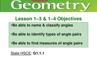 Lesson 1–3 & 1–4 Objectives