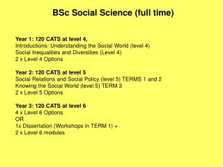 BSc Social Science (full time)