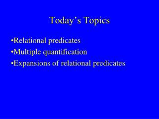 Today's Topics