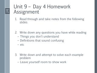 Unit 9 – Day 4 Homework Assignment