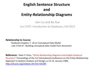 English Sentence Structure  and  Entity-Relationship Diagrams