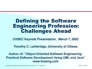 Defining the Software Engineering Profession: Challenges Ahead