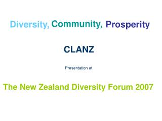 The New Zealand Diversity Forum 2007