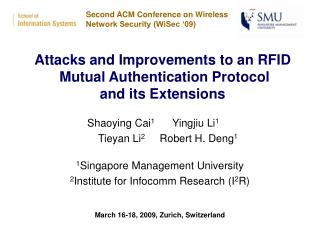 Attacks and Improvements to an RFID  Mutual Authentication Protocol  and its Extensions
