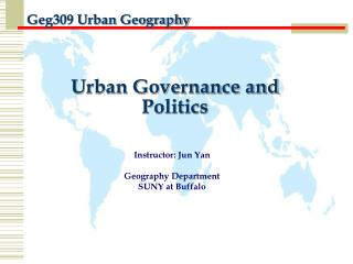 Urban Governance and Politics