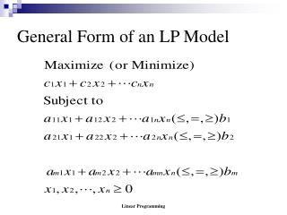 General Form of an LP Model